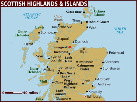 Courier Service showing map of Highlands and Islands of Scotland