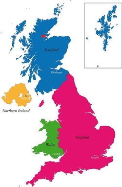UK Map showing Courier Service base